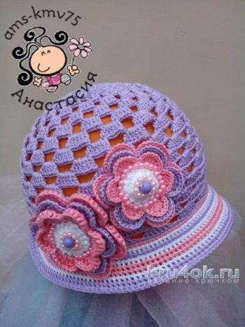 Панама - шляпка для девочки Дейзи связана крючком