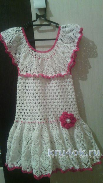 Платье для девочки Анна. Работа Яны Петровой. Вязание крючком.