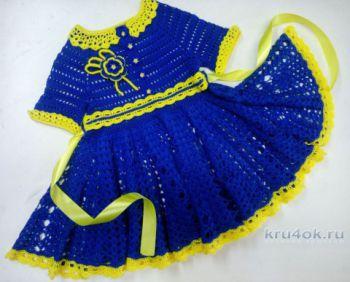 Детское платье крючком Незабудка. Работа Надежды Юсуповой