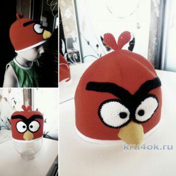 Шапочка Angry Birds крючком. Работа Татьяны Разумовской. Вязание крючком.
