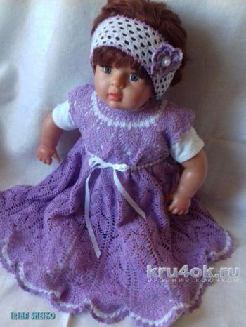 Детское платье Лаванда крючком. Работа Ирины Шейко. Вязание крючком.