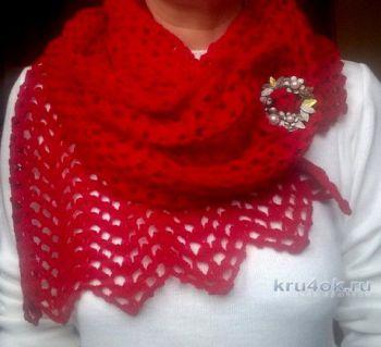 Пуховый шарф крючком. Работа Елены Шевчук. Вязание крючком.
