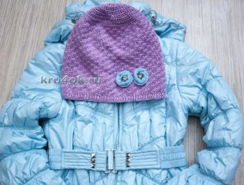 Весенняя шапка - бини для девочки крючком