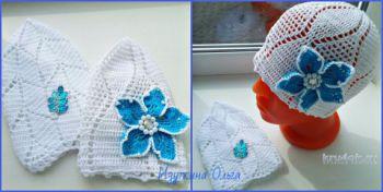 Детские шапочки, связанные крючком. Работа Ольги Изуткиной. Вязание крючком.