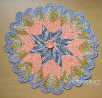 Салфетка Цветок. Работа Татьяны <i>рисунок салфетки для вязания крючком</i> Родионовой. Вязание крючком.