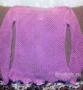 Ажурный пуловер крючком. Работа Ирины Колотуша. Вязание крючком.