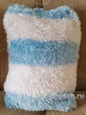 Вязаная крючком наволочка для подушки. Работа Ольги Домасовой. Вязание крючком.
