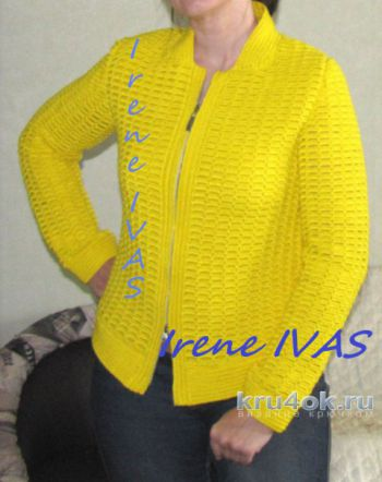 Лимонная куртка-бомбер (пилот) крючком. Работа Irene IVAS. Вязание крючком.