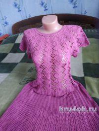 Женское платье крючком. Работа Лидии Климович