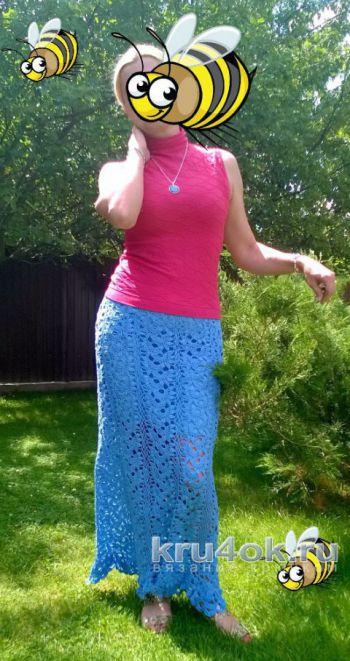 Длинная юбка крючком. Работа Елены Шевчук. Вязание крючком.