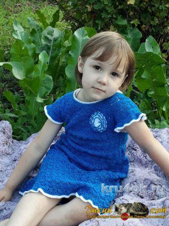 Авторская работа Ланы Кансковой детское платье Летний бриз. Вязание крючком.