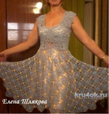 Женское платье крючком. Работа Елены Шляковой. Вязание крючком.
