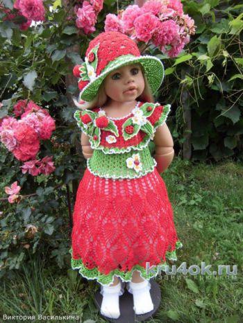 Вязаное платье для девочки Земляничка от Виктории Василькиной. Вязание крючком.
