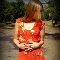 Платье крючком Осенний шепот. Работа Inna Aliyeva