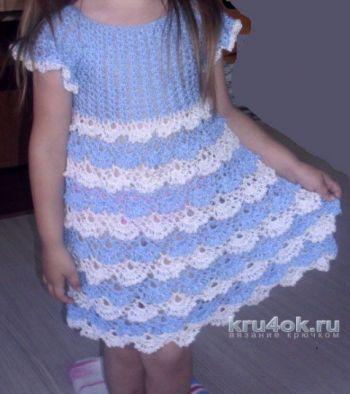 Детское платье крючком. Работа Натальи. Вязание крючком.