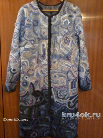 Пальто в технике фриформ с эффектом Деграде. Работа Елены Шляковой. Вязание крючком.