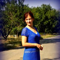 Женское платье крючком. Работа Inna Aliyeva