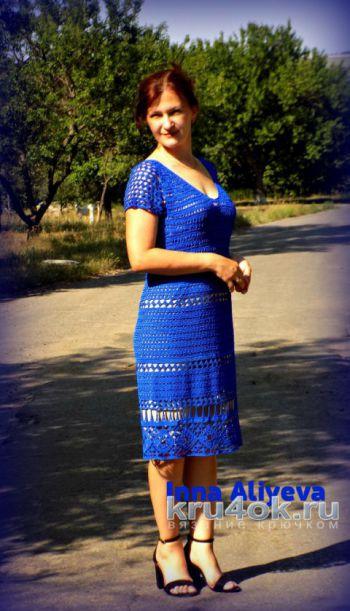 Женское платье крючком. Работа Inna Aliyeva. Вязание крючком.