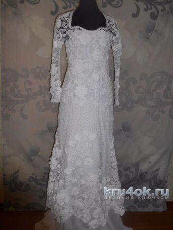 Свадебное платье в стиле ирландского кружева. Работа Светланы. Вязание крючком.
