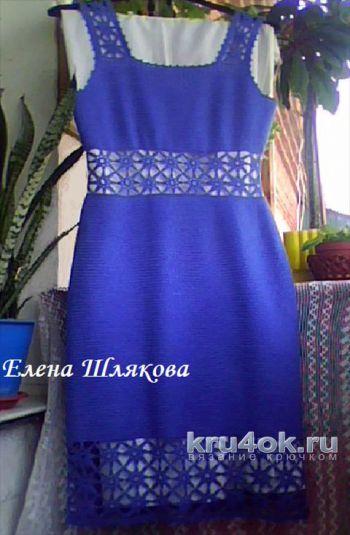 Платье Синие звездочки крючком. Работа Елены Шляковой. Вязание крючком.