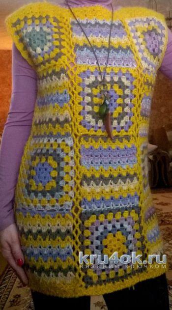 Разноцветная туника из квадратов крючком. Работа Елены Шевчук. Вязание крючком.