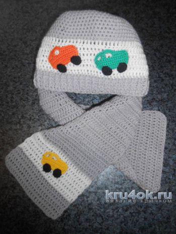 Шапка и шарф для мальчика. Работа Татьяны Султановой. Вязание крючком.
