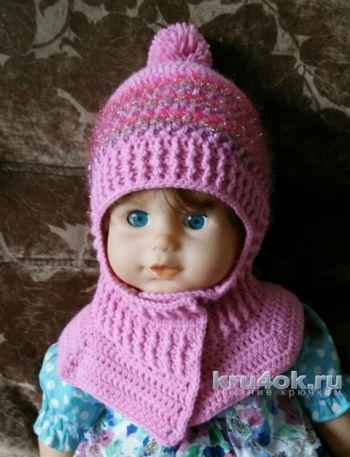 Зимняя шапка – шлем крючком. Работа Александры Карвелис. Вязание крючком.
