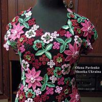 Блуза Цветочная россыпь в технике ирландского кружева. Работа Елены Павленко