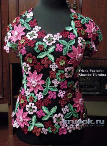 Блуза Цветочная россыпь в технике ирландского кружева