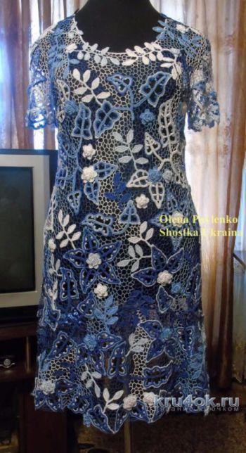 Вязаное платье Лазурь лета 2 в технике ирландского кружева