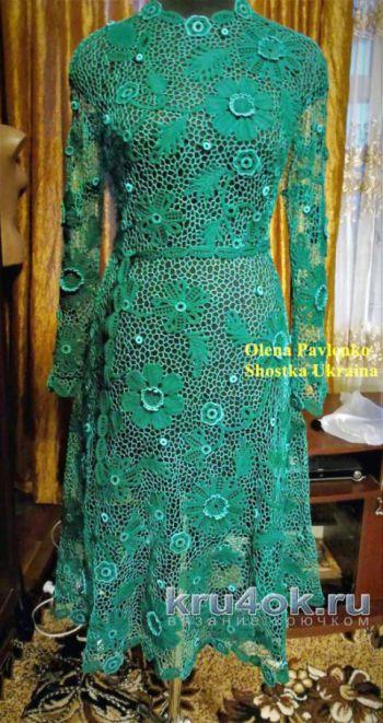 Платье Изумруд в технике ирландского кружева