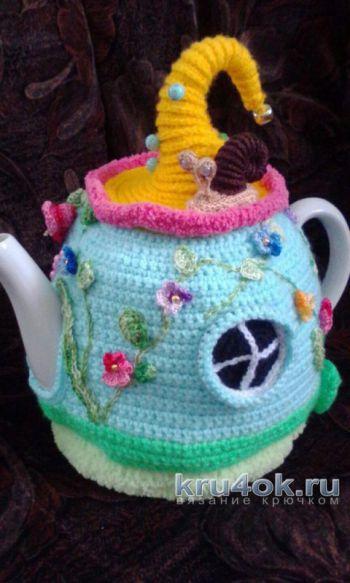 Вязаная грелка на чайник. Работа Екатерины