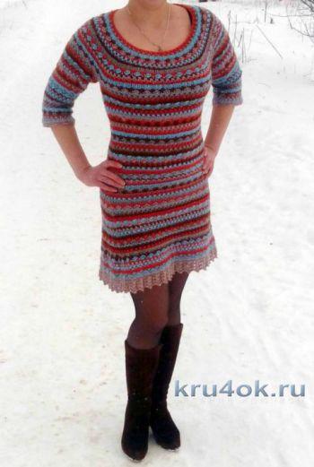 Вязаное крючком платье Сиена. Работа Марии Дайнеко