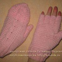 Вязаные варежки-перчатки крючком
