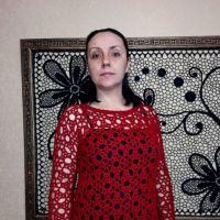 Пуловер крючком Рубиновая россыпь. Работа Евгении Руденко