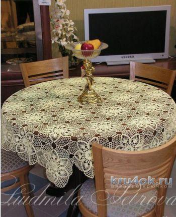 Скатерть крючком на круглый стол от Людмилы Петровой