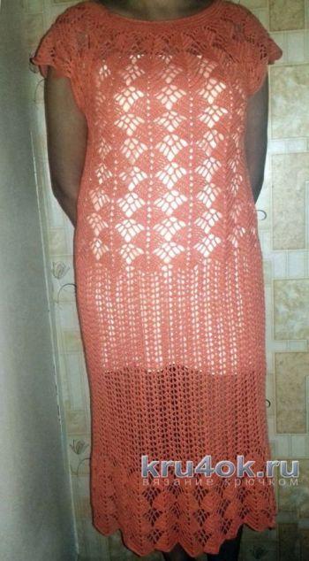 Женское платье крючком Лето. Работа Ларисы Брыляковой