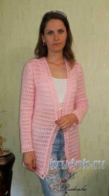 Длинный кардиган Розовый шарм в технике Брумстик