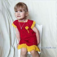Летнее платье для девочки 2-3 лет крючком. Работа Александры Карвелис