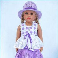 Комплект: платье Сиреневые глазки и шляпка. Работа Валентины Литвиновой