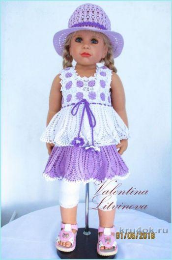 Летний комплект: платье Сиреневые глазки и шляпка