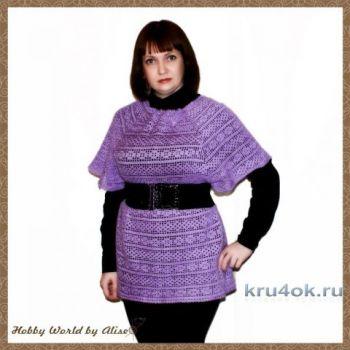 Туника на квадратной ажурной кокетке от Alise Crochet