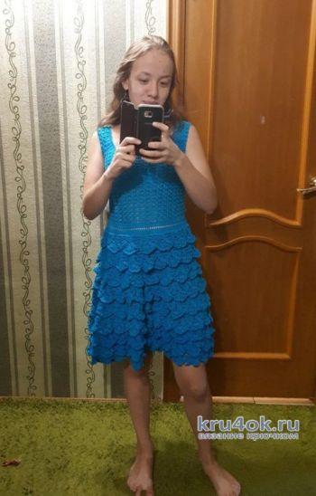 Вязанное крючком платье. Работа Евдокии