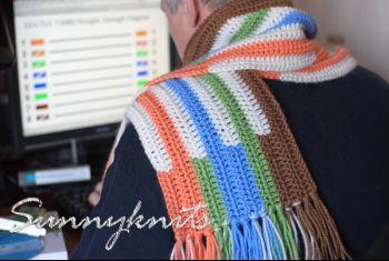 Мужской шарф крючком «витая пара» от Анны