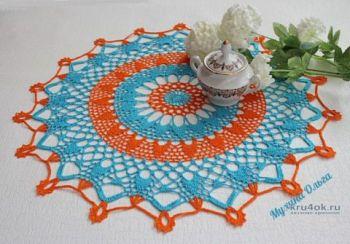 Красивая салфетка крючком Аквамандарина от Мухиной Ольги