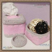 Корзинки из трикотажной пряжи. Работы Alise Crochet