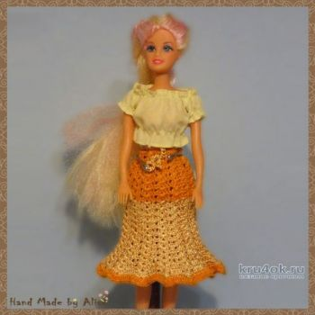 Юбка для Барби крючком. Работа Alise Crochet