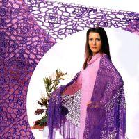 Фиолетовая гипюрная шаль