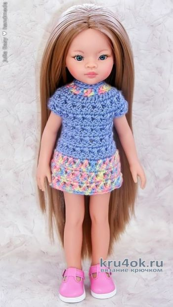 Платье крючком для куклы Paola Reina. Работа Julia Easy