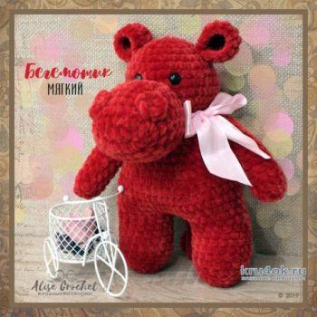 Как связать бегемота крючком из плюшевой пряжи. Работа Alise Crochet